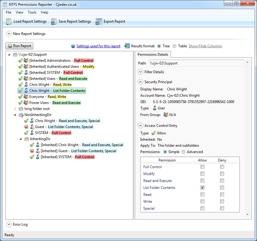 Cjwdev | NTFS Permissions Reporter